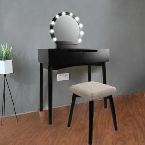 SEN228 - Set Masa toaleta, 80 cm, cosmetica machiaj oglinda cu LED, masuta vanity, scaunel, taburet tapitat - Negru