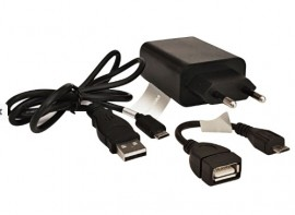 KIT Carregador 5V 2A + Cabo USB - Micro-USB 80cm + Cabo de dados OTG