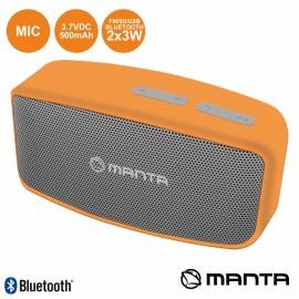 Coluna Bluetooth Portátil 2X3W USB/SD/AUX/FM/MIC MANTA