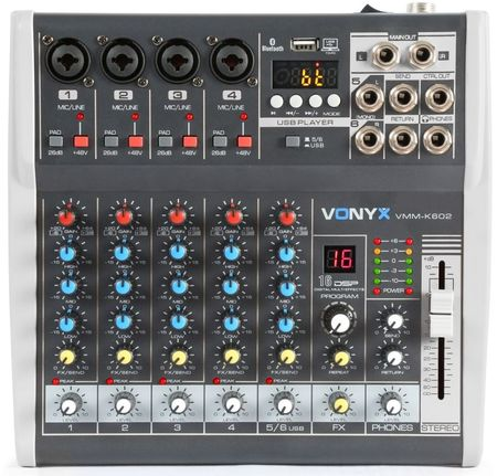 Mesa de Mistura 6 Canais c/ USB/SD/MP3/BLUETOOTH com DSP (VMM-K602) - VONYX