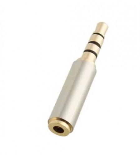Adaptador Jack 3.5mm Macho p/ Jack 2.5 Fêmea - 4 contactos (Microfone)