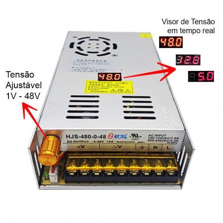 Fonte de Alimentação Regulável de 1-48V 10A 480W