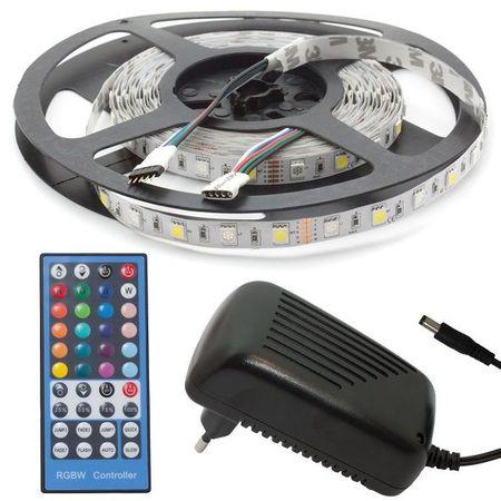Pack Fita 300 LEDs RGB+W (5 mts) 12V + Controlador + Fonte Alimentação - ProFTC