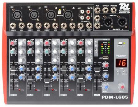 Mesa de Mistura 6 Canais c/ USB MP3 ECHO EQ (PDM-L605) - Power Dynamics