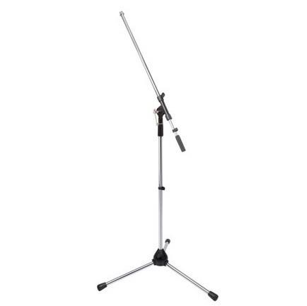Suporte Tripé Telescópico p/ Microfone Cromado- HQ Power (Qualidade)