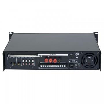 Amplificador de Linha 120W RMS - Misturador PA c/ Leitor MP3 e Rádio FM