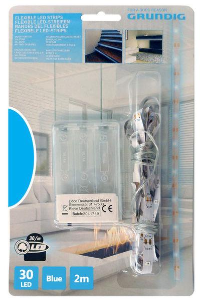 Fita 30 LEDs Flexíveis 2mts c/ Interruptor (a pilhas) Azul - GRUNDIG