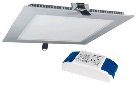 Painel de LED Quadrado (22,5 x 22,5cm) 18W 6000K - Aço Escovado