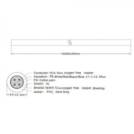 Cabo DMX 4x 0,12 mm² - BOBINA 100m SWEEX