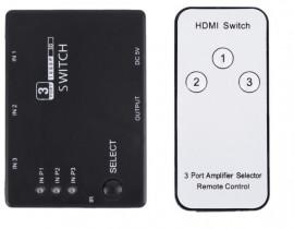 Comutador HDMI Full HD 3 entradas uma saída com comando