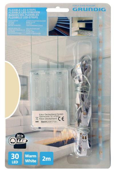 Fita 60 LEDs Flexíveis 2mts c/ Interruptor (a pilhas) Branco Quente - GRUNDIG