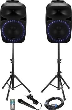 """Pack 2 colunas amplificadas 12"""" 800W c/ USB-SD-BT BLUETOOTH tripés comando e microfone"""
