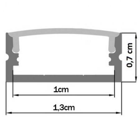 Perfil Alumínio c/ Difusor Transparente p/ Fita de LEDs - 2 mts