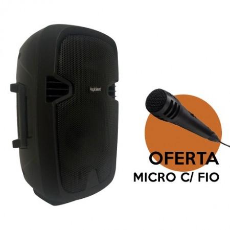 """Coluna Bluetooth Portátil 8"""" de qualidade c/ Bateria USB/SD/FM - 150W"""