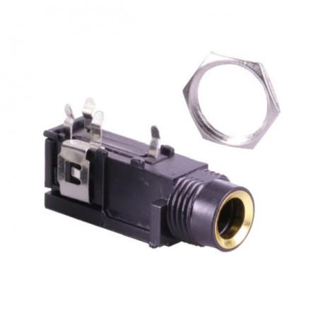 Ficha Jack 6,3mm Fêmea Painel Stereo Isolado p/ circuito impresso