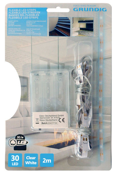 Fita 30 LEDs Flexíveis 2mts c/ Interruptor (a pilhas) Branco Frio - GRUNDIG