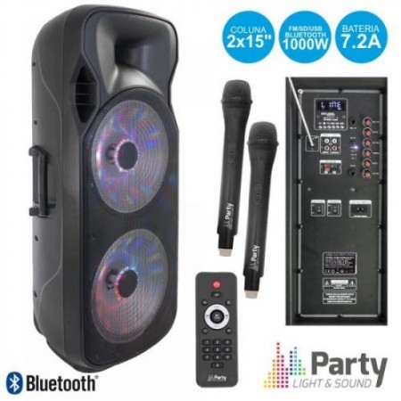 "Coluna BLuetooth Portátil 2x15"" 1000W USB/FM/SD UHF c/ 2 Micros - PARTY"