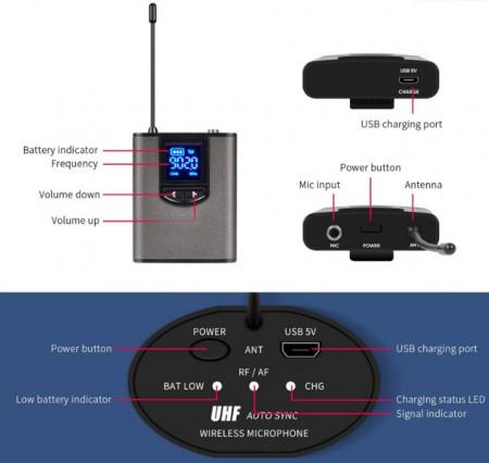 Microfone de Cabeça + Lapela s/ fios UHF com receptor - Alcance até 100 metros
