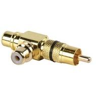Adaptador / Splitter RCA 1 Macho - 2 Fêmea Dourado