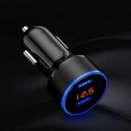 Carregador USB de isqueiro Duplo 3.1A c/ Medidor de bateria Automóvel