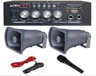 Cornetas Pack - Amplificador PA 2x50W 8-16 OHM 220V/12V USB/BT/FM + 2 Cornetas+ Microfone