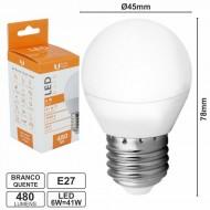 Lâmpada E27 6W=41W 230V LEDS SMD Globo Branco Quente 480LM