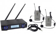 Microfone Cabeça s/ Fios (2 unid) +Receptor UHF (profissional)