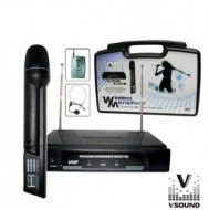 Microfone Mão s/ Fios + Cabeça + Emissor + Receptor VHF