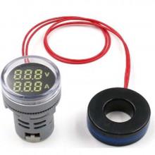 Voltímetro Amperímetro Duplo AC12-500V / 0-100A