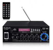 Amplificador Audio com Karaoke 2x75W 4-8 Ohm 220v/12V USB/BT - Preto