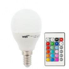 Lampada LED G45 220V E14 RGB + Branco 4000K 5,5W c/ Comando
