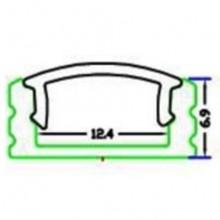 Perfil Alumínio c/ Difusor Opaco p/ Fita de LEDs - 2 mts
