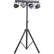 Suporte c/ 2 Projectores PAR 12 LEDS RGBW + 2 Laser DMX IBIZA