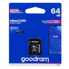 Cartão de Memória 64 GB UHS-I MicroSD + Adaptador SD (CLASS 10) - GOODRAM
