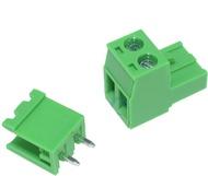 Ficha MSTB Macho / Fêmea 2 contactos para Circuito Impresso passo 5.08mm