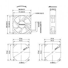 Ventilador 80x80x25mm 12V