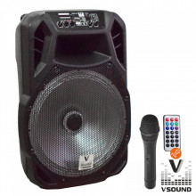 "Coluna Bluetooth Portátil 15"" FM/USB/SD/BAT LED MIC VSOUND"