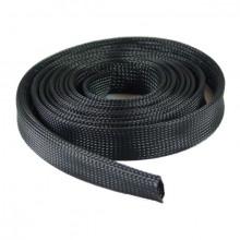 Manga PET Trançada Têxtil Expansível Preta 15 mm (metro)