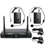 Microfone Cabeça E LAPELA s/ Fios (2 unid) + Receptor VHF 175/197MHz KARMA