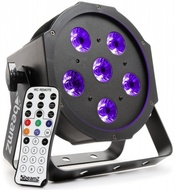 PROJECTOR LUZ NEGRA PAR 6X 6W LED UV DMX C/ COMANDO