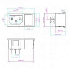Ficha IEC320 - C14 Tripolar de Painel 10A / 250V c/ Interruptor