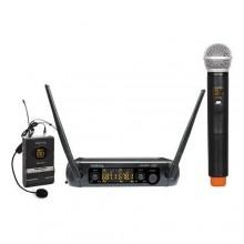 Microfone Mão e cabeça/ Fios (2 unid) + Receptor UHF 16 canais