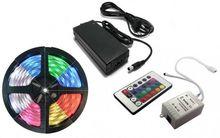 Pack Fita 300 LEDs IP65 RGB (5 mts) 12V + Controlador + Fonte Alimentação