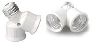 SUPORTE ADAPTADOR 2X LAMPADA E27 (casquilho grosso)