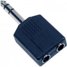Adaptador Jack 6,3mm Macho Stereo - 2 x Jack 6,3mm Fêmea Stereo