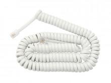 Cabo p/ Ligação do Auscultador Telefone RJ10 Espiral (2mts) - branco