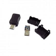 Ficha Micro USB Macho c/ Capa