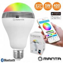Lâmpada RGB E27 LED BT / Coluna / App 15W MANTA