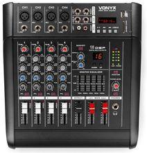 Mesa de Mistura Amplificada 2x 500W 5 Canais c/ DSP/BT/SD/USB/MP3 (AM5A) - VONYX