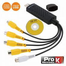 Adaptador USB/Vídeo 4 Entradas Vídeo/1 Áudio PROK